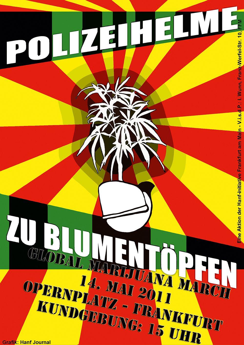 Poster- und Flyermotiv zum Global Marijuana March am 14. Mai 2011 in Frankfurt am Main - Polizeihelme zu Blumentöpfen